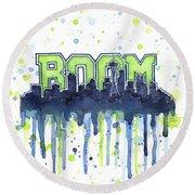 Seattle 12th Man Legion Of Boom Watercolor Round Beach Towel
