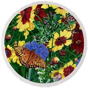 Butterfly Wildflowers Garden Oil Painting Floral Green Blue Orange-2 Round Beach Towel