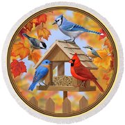 Bird Painting - Autumn Aquaintances Round Beach Towel by Crista Forest