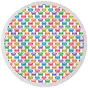 Colorful Pop Art Macarons Round Beach Towel
