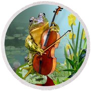 Humorous Scene Frog Playing Cello In Lily Pond Round Beach Towel