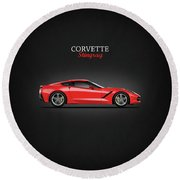 The Red Vette Round Beach Towel