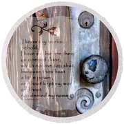 Chapel Door - Verse Round Beach Towel