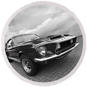 Shelby Gt500kr 1968 In Black And White Round Beach Towel