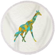 Giraffe Watercolor Art Round Beach Towel