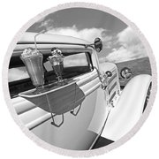 Deuce Coupe At The Drive-in Black And White Round Beach Towel