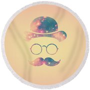 Retro Face With Moustache And Glasses  Universe  Galaxy Hipster In Gold Round Beach Towel