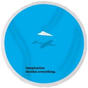 Imagination Decides Everything Quotes Poster Round Beach Towel