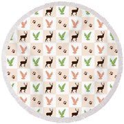 Rustic Wildlife Pattern Round Beach Towel