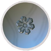 Snowflake Photo - Massive Silver Round Beach Towel by Alexey Kljatov