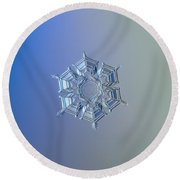 Snowflake Photo - Ice Relief Round Beach Towel by Alexey Kljatov