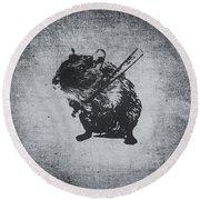 Angry Street Art Mouse  Hamster Baseball Edit  Round Beach Towel