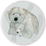 Cuddly Polar Bear Watercolor Round Beach Towel