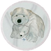 Cuddly Polar Bear Watercolor Round Beach Towel