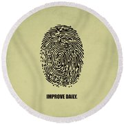 Improve Daily Business Quotes Poster Round Beach Towel