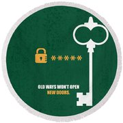 Open New Doors Business Quotes Poster Round Beach Towel