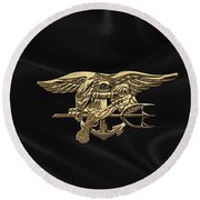 U.s. Navy Seals Trident Over Black Flag Round Beach Towel