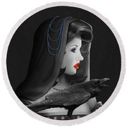 Mystic Woman With Raven Round Beach Towel