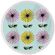 Happy Flowers Round Beach Towel