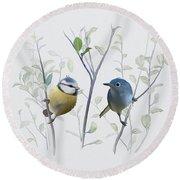 Birds In Tree Round Beach Towel