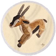 Cuddly Gazelle Watercolor Round Beach Towel