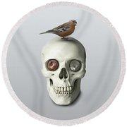Skull And Bird Round Beach Towel
