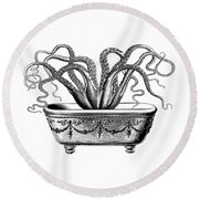 Tentacles In The Tub Round Beach Towel