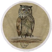 Paper Bag Owl Round Beach Towel