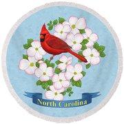 North Carolina State Bird And Flower Round Beach Towel by Crista Forest