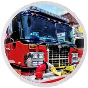 Front Of Fire Truck With Hose Round Beach Towel