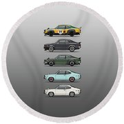Stack Of Mazda Savanna Gt Rx-3 Coupes Round Beach Towel