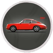 The 1965 Porsche 911 Round Beach Towel