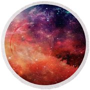 Planetary Soul Violet Round Beach Towel