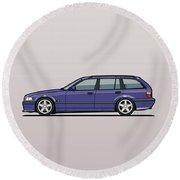 Bmw E36 328i 3-series Touring Wagon Techno Violet Round Beach Towel