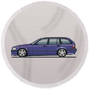 Bmw E36 328i 3-series Touring Wagon Techno Violet Round Beach Towel