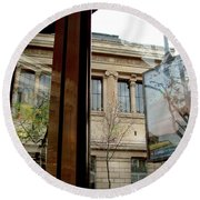 Paris Cafe Views Reflections Round Beach Towel