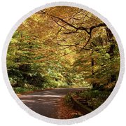 Mountain Road Stowe Vt Round Beach Towel