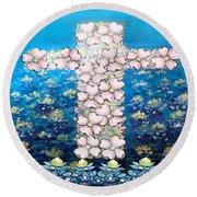 Cross Of Flowers Round Beach Towel