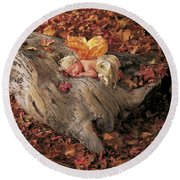 Woodland Fairy Round Beach Towel by Anne Geddes