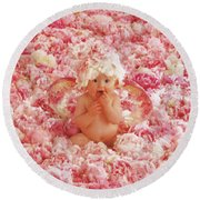 Peony Angel Round Beach Towel by Anne Geddes