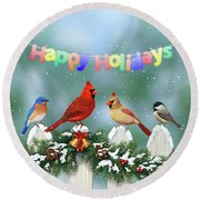 Christmas Birds And Garland Round Beach Towel by Crista Forest