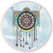 Peace Kite Dangle Illustration Art Round Beach Towel