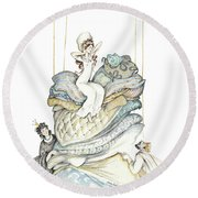 The Princess And The Pea, Illustration For Classic Fairy Tale Round Beach Towel