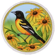 Maryland State Bird Oriole And Daisy Flower Round Beach Towel by Crista Forest