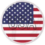 Usa On The American Flag Round Beach Towel
