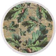 Oak Tree Leaves And Acorns, Autumn Dictionary Art Round Beach Towel