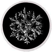 Snowflake Vector - Gardener's Dream Black Version Round Beach Towel by Alexey Kljatov