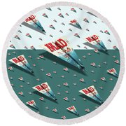 180 Mad Paper Airplanes Round Beach Towel