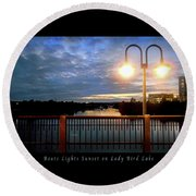 Boat, Lights, Sunset On Lady Bird Lake Round Beach Towel