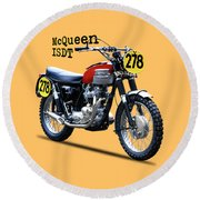 The Steve Mcqueen Isdt Motorcycle 1964 Round Beach Towel
